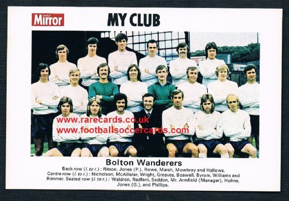 1970 My Club Daily Mirror postcard-size card Bolton Wanderers
